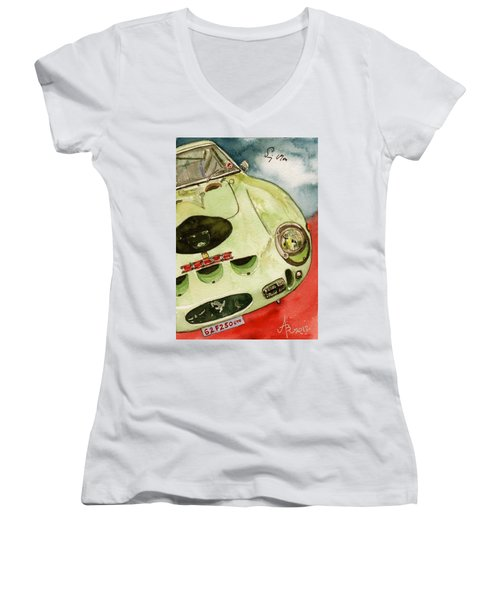 62 Ferrari 250 Gto Signed By Sir Stirling Moss Women's V-Neck (Athletic Fit)