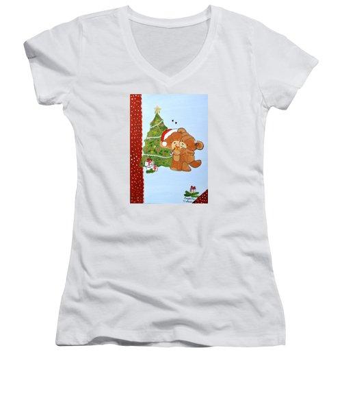Merry Christmas Women's V-Neck T-Shirt (Junior Cut) by Magdalena Frohnsdorff