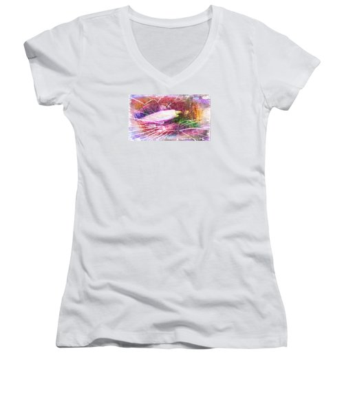 Orchid Buds In Abstract  Women's V-Neck T-Shirt