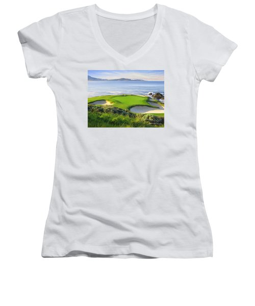 7th Hole At Pebble Beach Women's V-Neck T-Shirt (Junior Cut)