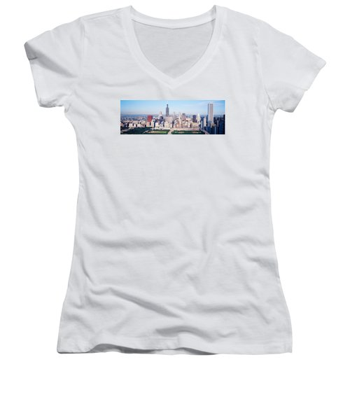 Aerial View Of Buildings In A City Women's V-Neck T-Shirt (Junior Cut) by Panoramic Images