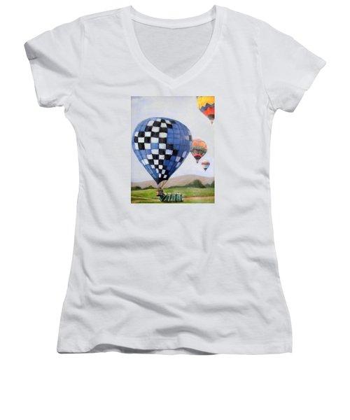 A Balloon Disaster Women's V-Neck T-Shirt (Junior Cut) by Donna Tucker