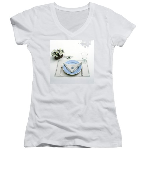 A Blue Table Setting Women's V-Neck
