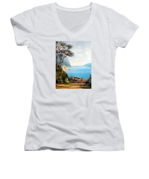 A Boat On The Beach Women's V-Neck (Athletic Fit)