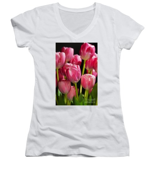 A Bouquet Of Pink Tulips Women's V-Neck