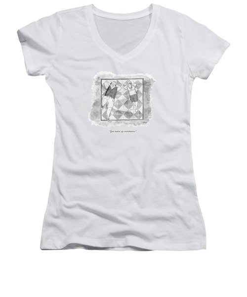 A Boy And His Father Look Up At The Stars Women's V-Neck