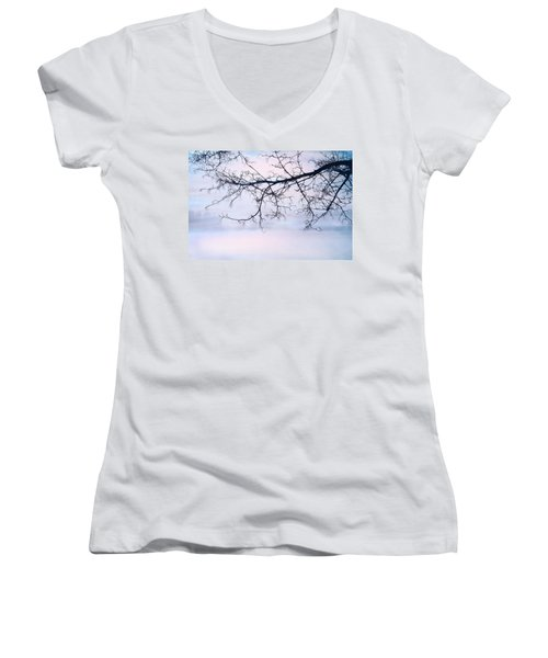 A Breathing Too Quiet To Hear Women's V-Neck T-Shirt (Junior Cut) by Theresa Tahara