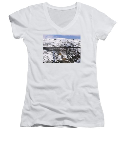 A Bridge In Alaska Women's V-Neck T-Shirt (Junior Cut) by Brian Williamson