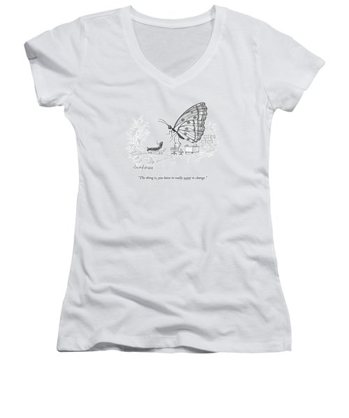A Butterfly Speaks To A Caterpillar Women's V-Neck