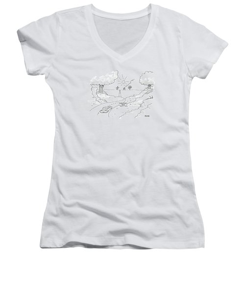 A Car On A Winding Road Heads For A Straight Road Women's V-Neck