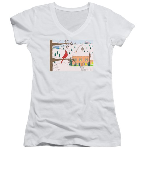 Women's V-Neck featuring the drawing A Cardinal Christmas by John Wiegand