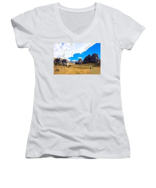 Women's V-Neck T-Shirt (Junior Cut) featuring the photograph A Castle Hill Walk by Stuart Litoff