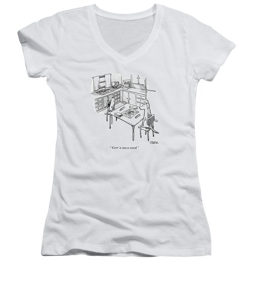 A Cat And Dog Play Scrabble In A Kitchen. 'grrr' Women's V-Neck