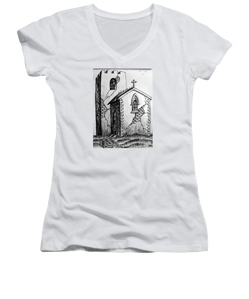 Women's V-Neck T-Shirt (Junior Cut) featuring the painting Old Church by Salman Ravish