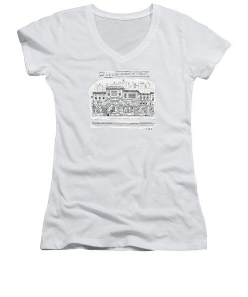 A City Block Is Full Of Buildings With Glass Women's V-Neck