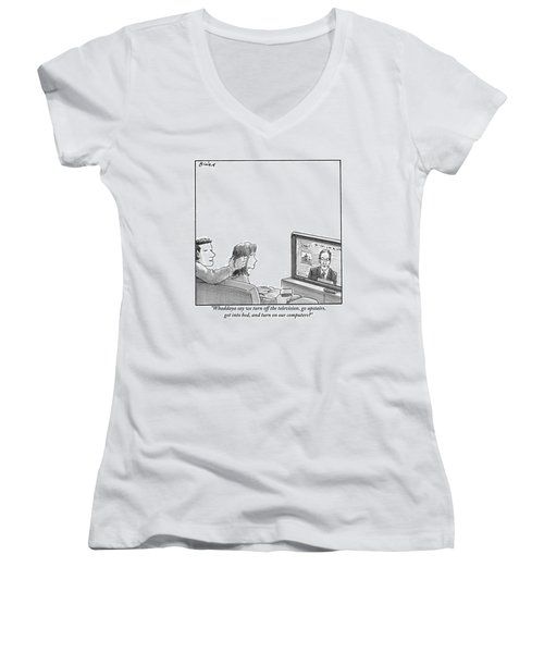 A Couple Are Sitting On A Couch Late At Night Women's V-Neck