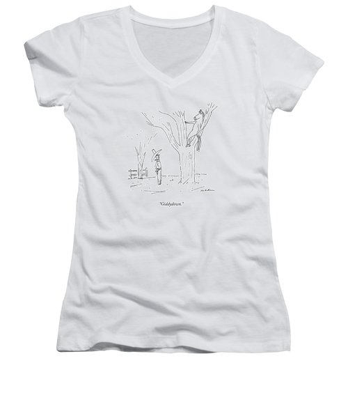 A Cowboy Talks To His Horse In A Tree Women's V-Neck