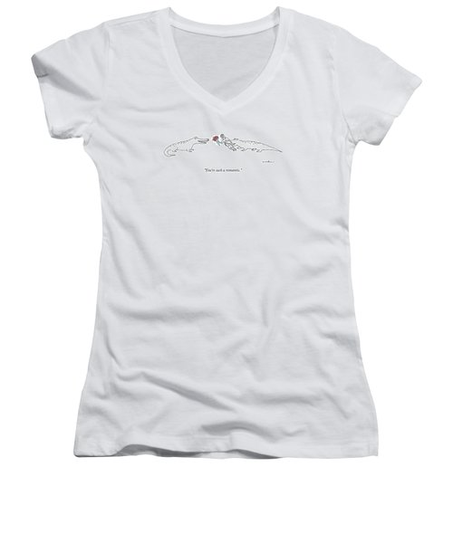 A Crocodile To Another Crocodile With A Person Women's V-Neck