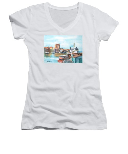 A Curacao Morning Women's V-Neck T-Shirt (Junior Cut) by Debbie Lewis