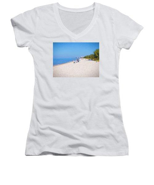 A Day At Naples Beach Women's V-Neck