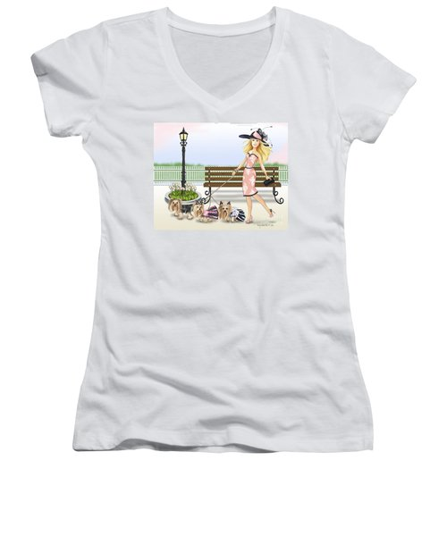 A Day At The Derby Women's V-Neck T-Shirt (Junior Cut) by Catia Cho