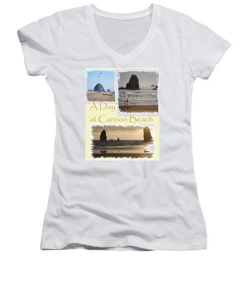 A Day On Cannon Beach Women's V-Neck T-Shirt (Junior Cut) by Sharon Elliott