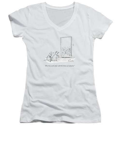 A Dog Speaks To Another Dog In Front Of A Closed Women's V-Neck