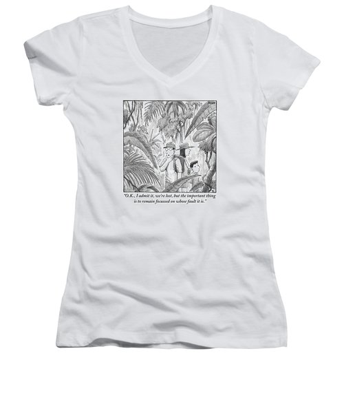 A Family Is Lost In The Depths Of A Jungle Women's V-Neck