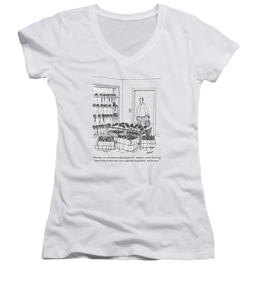 A Father Addresses His Son In The Doorway Women's V-Neck