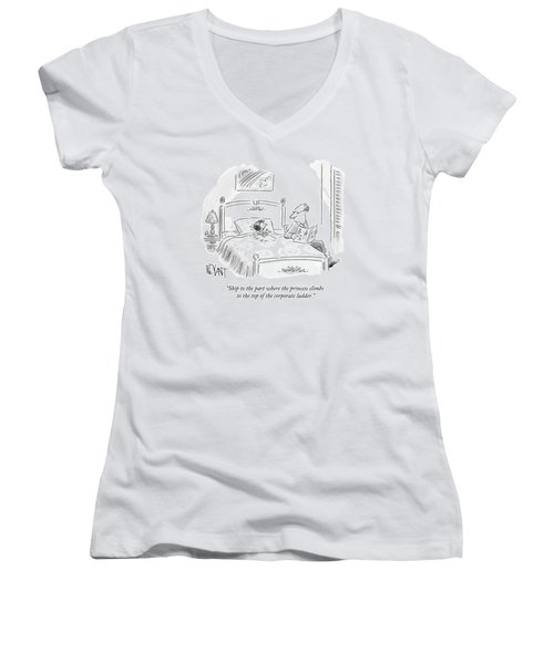 A Father Reads His Daughter A Bedtime Story Women's V-Neck