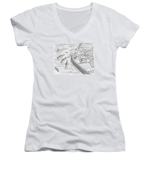 A Fisherman On A Rowboat Looks At The Fish Women's V-Neck