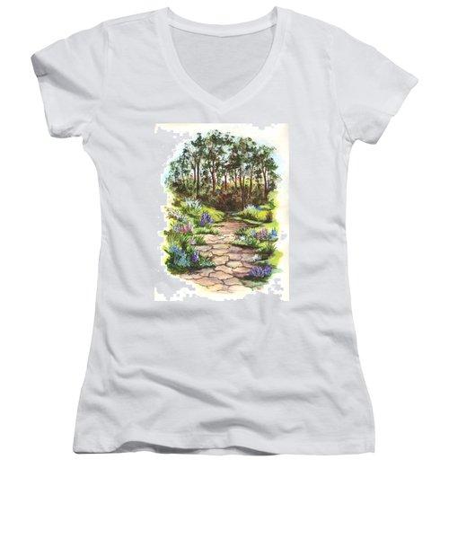 Women's V-Neck T-Shirt (Junior Cut) featuring the painting Down The Garden Pathway  by Carol Wisniewski
