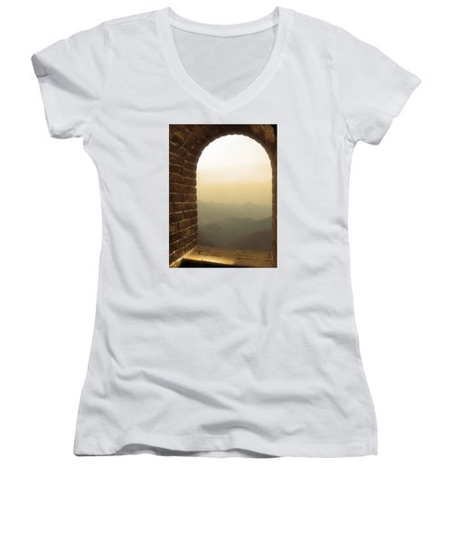 Women's V-Neck T-Shirt (Junior Cut) featuring the photograph A Great View Of China by Nicola Nobile