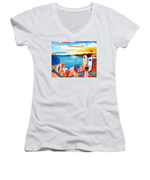 Women's V-Neck T-Shirt (Junior Cut) featuring the painting A Greek Seaview by Roberto Gagliardi