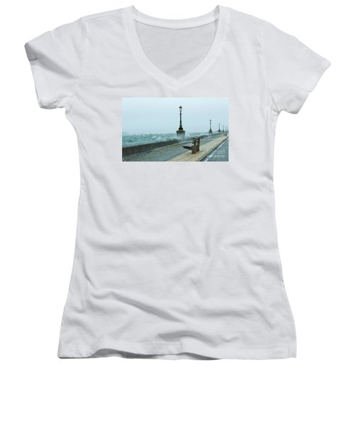 A Grey Wet Day By The Sea Women's V-Neck T-Shirt (Junior Cut) by Katy Mei