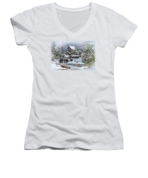A Gristmill Christmas Women's V-Neck T-Shirt (Junior Cut) by Mary Almond