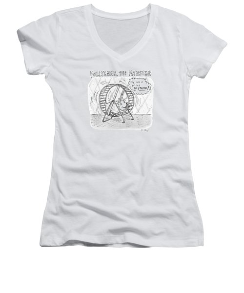 A Hamster Runs On A Wheel Thinking My Core Women's V-Neck