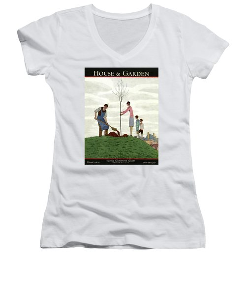 A House And Garden Cover Of People Planting Women's V-Neck
