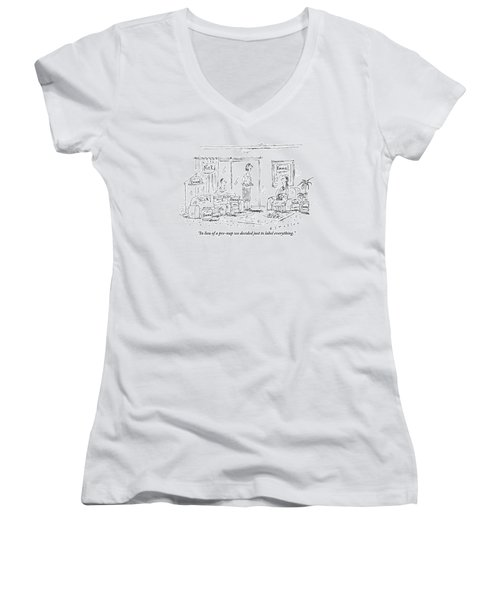 A Husband And Wife Talk To A Friend Women's V-Neck