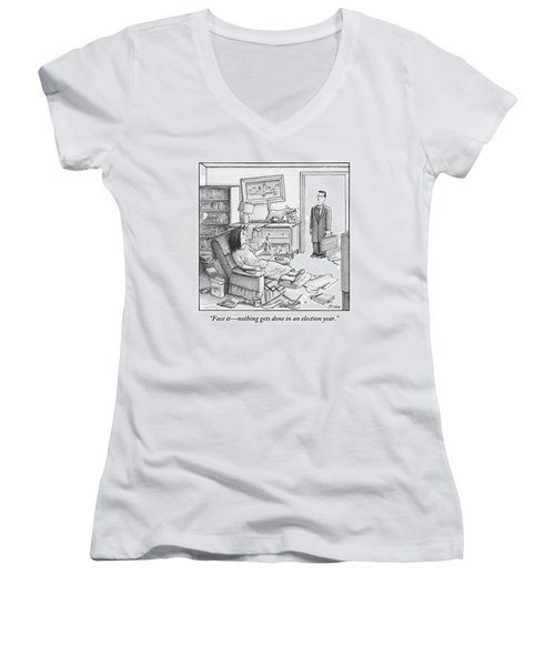 A Husband Walks Into A Trashed Room Women's V-Neck