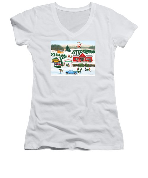 A Jolly Holly Holiday Women's V-Neck (Athletic Fit)