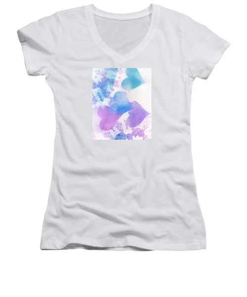 A Lace Of Hearts. Women's V-Neck (Athletic Fit)