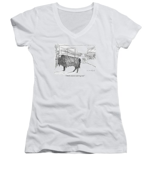 A Large Buffalo Stands Near The Door Women's V-Neck T-Shirt (Junior Cut) by Michael Crawford