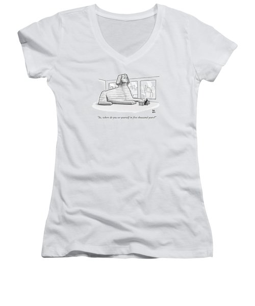 A Large Sphinx Sits In Front Of A Desk Women's V-Neck