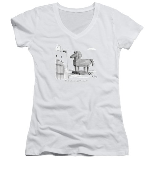 A Large Wooden Horse Women's V-Neck