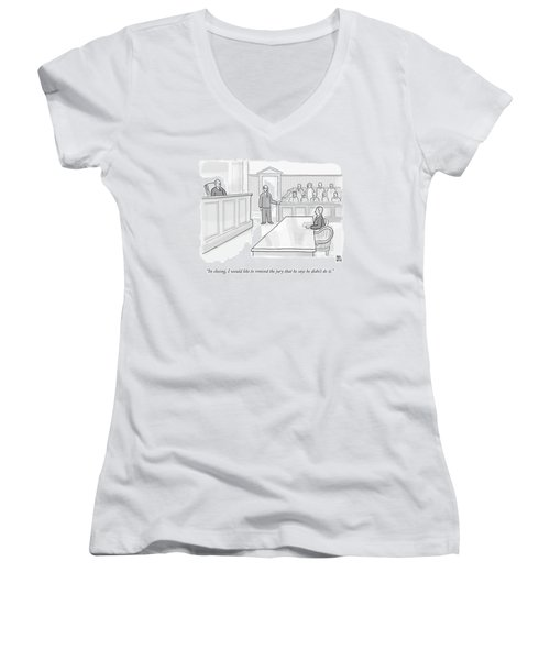 A Lawyer In Court Addresses The Jury Women's V-Neck