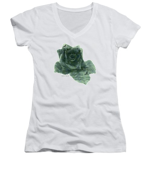 Women's V-Neck T-Shirt (Junior Cut) featuring the photograph A Little Bird Whispered To Me Digital Rose  by Sandra Foster