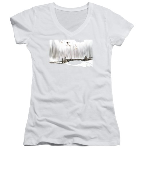 A Little Winter Magic Women's V-Neck T-Shirt (Junior Cut) by Andrea Kollo