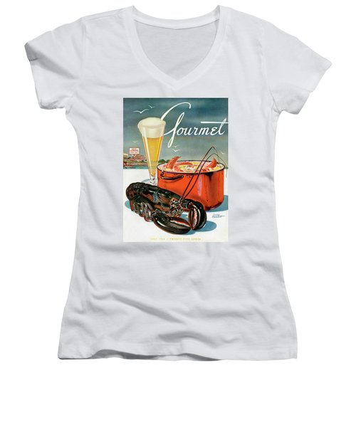 A Lobster And A Lobster Pot With Beer Women's V-Neck T-Shirt (Junior Cut) by Henry Stahlhut