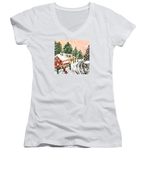 A Magical Frost Women's V-Neck T-Shirt (Junior Cut) by Lori  Lovetere